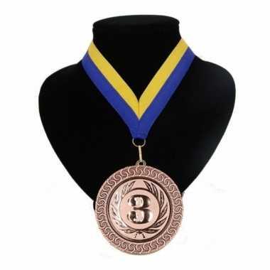 Nummer 3 medaille blauw en geel