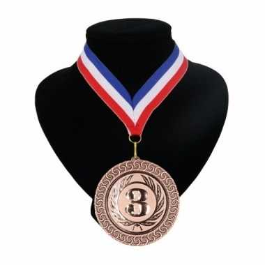 Nummer 3 medaille rood wit blauw