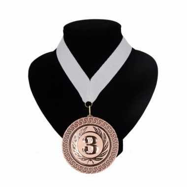 Nummer 3 medaille wit