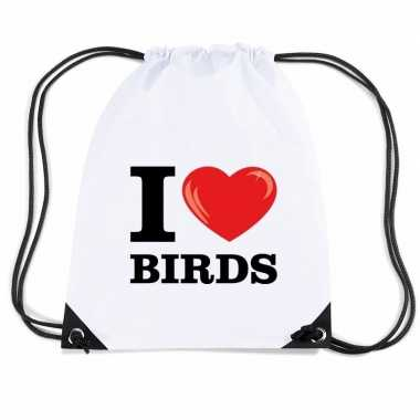 Nylon gymtasje i love birds wit