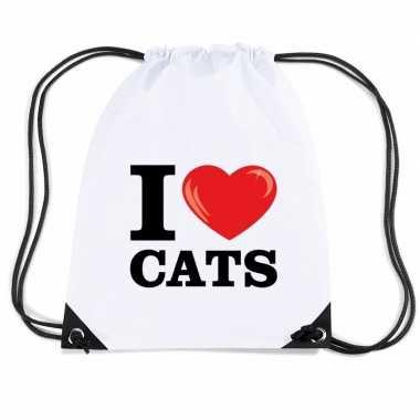 Nylon gymtasje i love cats wit