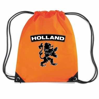 Nylon rugzak holland zwarte leeuw oranje