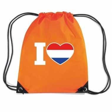 Nylon rugzak i love holland oranje