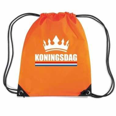 Nylon rugzak/ tasje koningsdag oranje