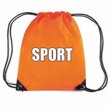 Nylon sport gymtasje oranje jongens en meisjes