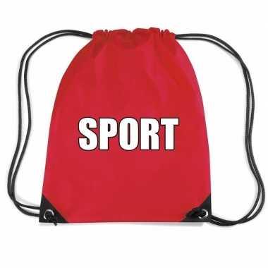 Nylon sport gymtasje rood jongens en meisjes