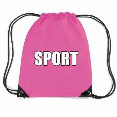 Nylon sport gymtasje roze jongens en meisjes