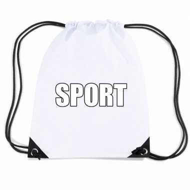 Nylon sport gymtasje wit jongens en meisjes