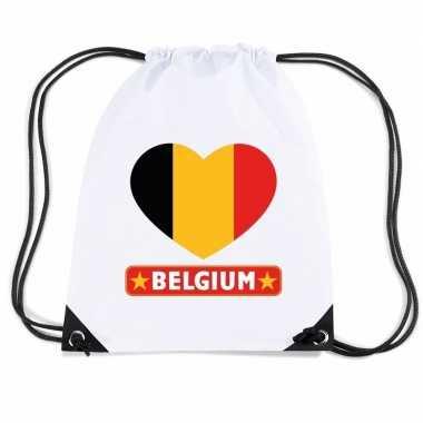 Nylon sporttas belgie hart vlag wit
