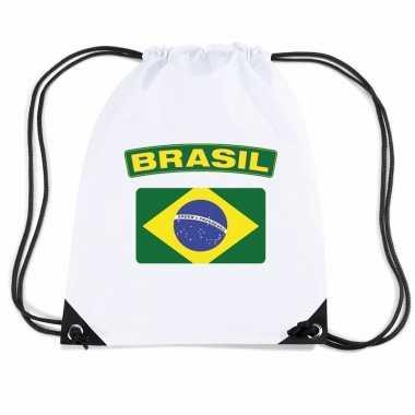 Nylon sporttas braziliaanse vlag wit