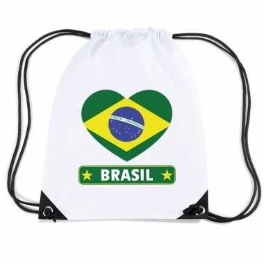 Nylon sporttas brazilie hart vlag wit