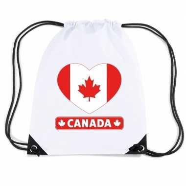 Nylon sporttas canada hart vlag wit