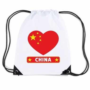 Nylon sporttas china hart vlag wit