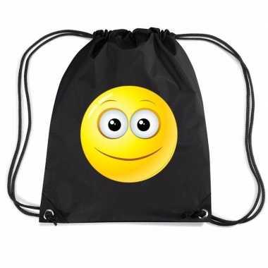 Nylon sporttas emoticon vrolijk zwart