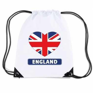 Nylon sporttas engeland hart vlag wit