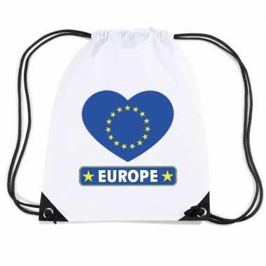 Nylon sporttas europa hart vlag wit