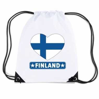 Nylon sporttas finland hart vlag wit