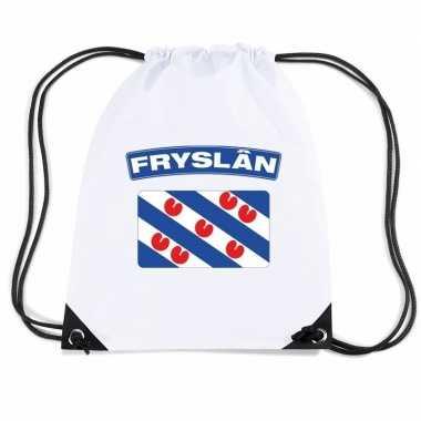 Nylon sporttas friese vlag wit