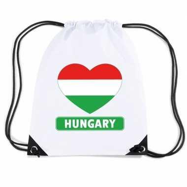 Nylon sporttas hongarije hart vlag wit