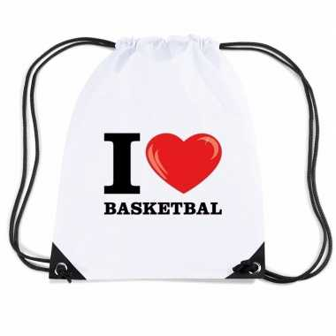 Nylon sporttas i love basketbal wit
