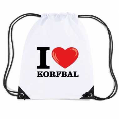 Nylon sporttas i love korfbal wit