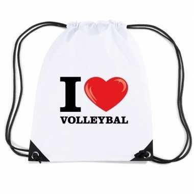 Nylon sporttas i love volleybal wit