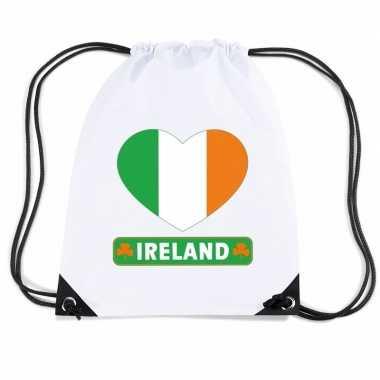 Nylon sporttas ierland hart vlag wit
