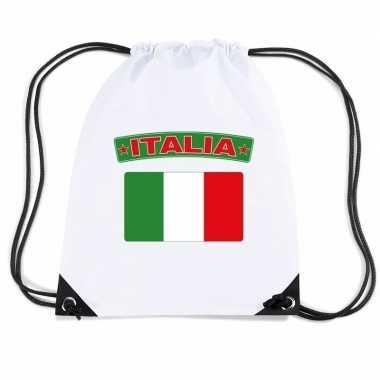 Nylon sporttas italiaanse vlag wit