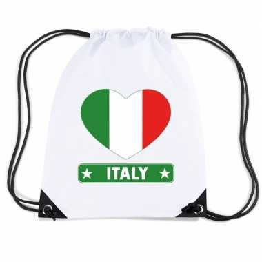 Nylon sporttas italie hart vlag wit