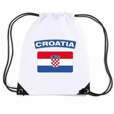 Nylon sporttas kroatische vlag wit