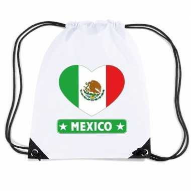 Nylon sporttas mexico hart vlag wit