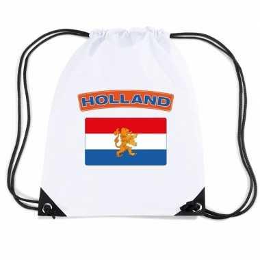 Nylon sporttas nederlandse vlag wit