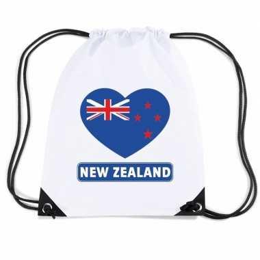 Nylon sporttas nieuw zeeland hart vlag wit
