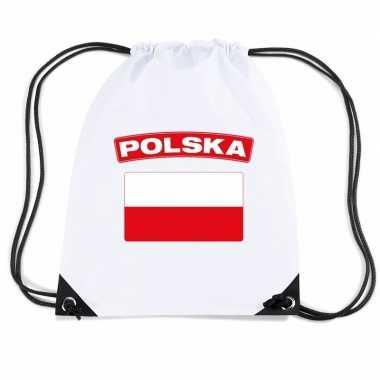 Nylon sporttas poolse vlag wit