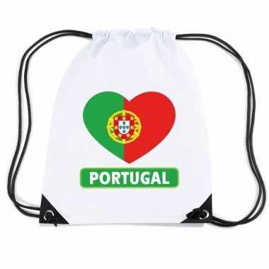 Nylon sporttas portugal hart vlag wit