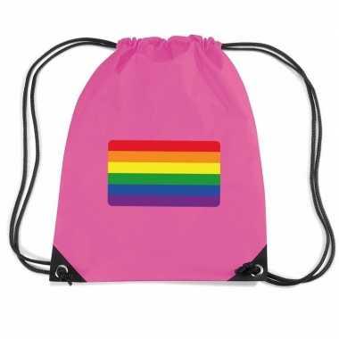 Nylon sporttas regenboog vlag roze
