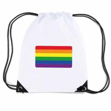 Nylon sporttas regenboog vlag wit