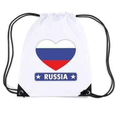 Nylon sporttas rusland hart vlag wit