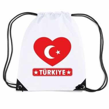 Nylon sporttas turkije hart vlag wit