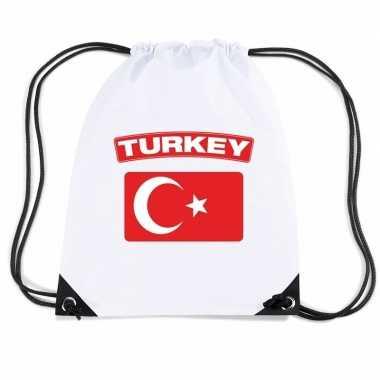 Nylon sporttas turkse vlag wit