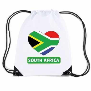 Nylon sporttas zuid afrika hart vlag wit