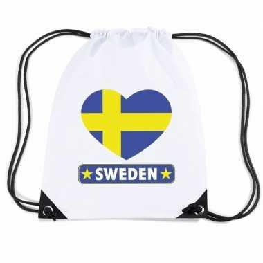 Nylon sporttas zweden hart vlag wit