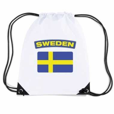 Nylon sporttas zweedse vlag wit