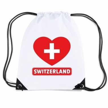 Nylon sporttas zwitserland hart vlag wit