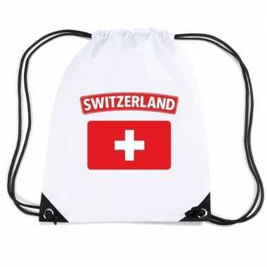 Nylon sporttas zwitserse vlag wit
