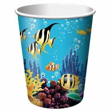 Oceaan thema feestbekertjes 8 stuks
