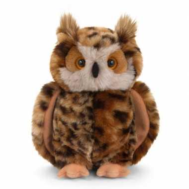 Oehoe uil bruin knuffelvogel 28 cm