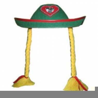 Oktoberfest dames hoed met vlechten