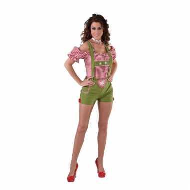 Oktoberfest groene lederhose voor dames