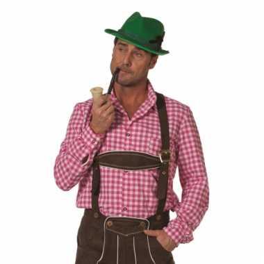 Oktoberfest heren blouse roze wit